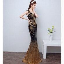 2019 Free shipping V neck Golden evening dresses mermaid  Prom Gowns vestidos festa vestidos festa  longo robe de soiree TK1511
