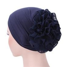 Turbante-bonnet Turban en mousseline de soie   Bandeau Hijab fleur du roi musulman, bonnet chimo pour perte de cheveux, écharpe musulmane Hijab islamique, nouvelle collection