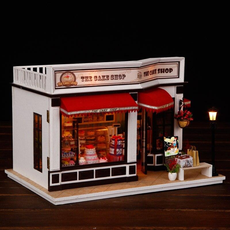Miniatura Casa de muñecas Diy Casa de muñecas de madera Casa tienda modelo con muebles Kits de construcción regalos de navidad juguetes para niños K016 #