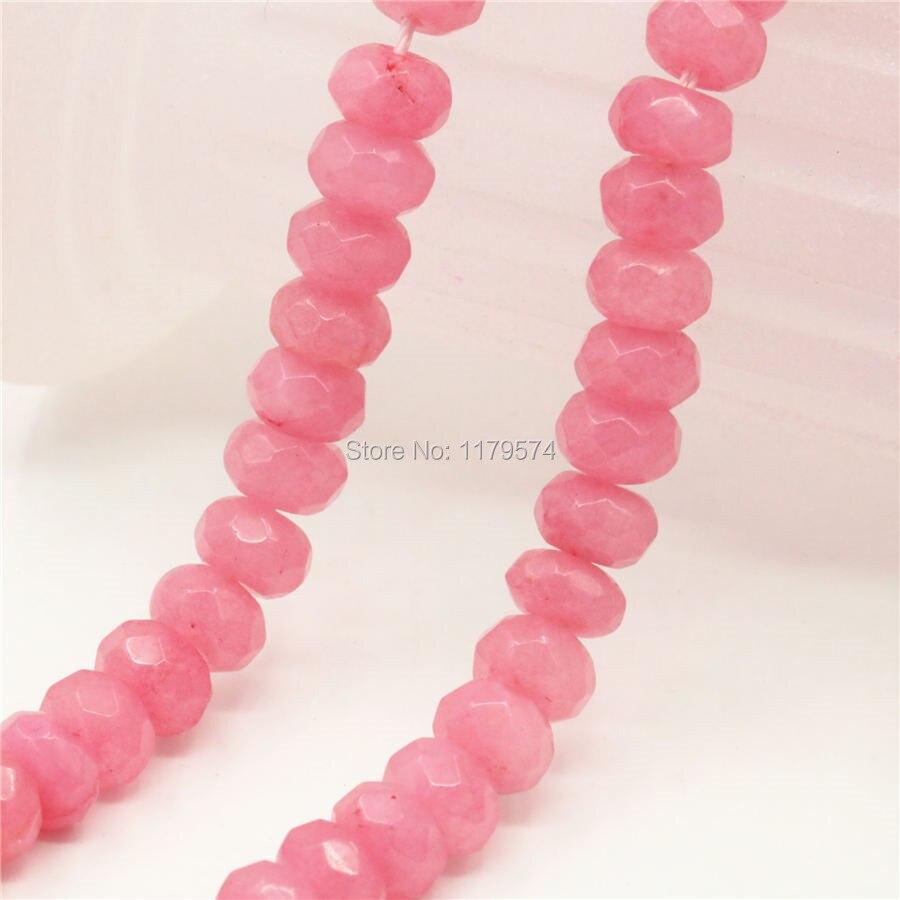 5x8mm accesorios de Calcedonia Rosa caliente artesanías cuentas sueltas piedra joyería DIY diseño de cristal 15 pulgadas Mujer chicas regalos Abacu