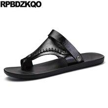 Native Leather White Slippers Sandals Designer Shoes Men High Quality Stud Summer Fashion Toe Loop Outdoor Sport Rivet Slides