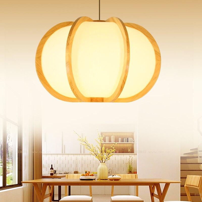 Creativo estilo japonés Tatami, lámpara de madera de pino, forma de calabaza, 5 W, lámpara colgante de cordón LED para Bar o para el hogar