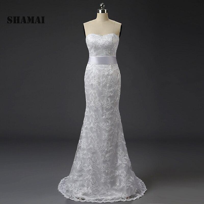SHAMAI en Stock, escote con forma de corazón de encaje, Espalda descubierta, encaje de sirena, vestidos de novia con tren de barrido