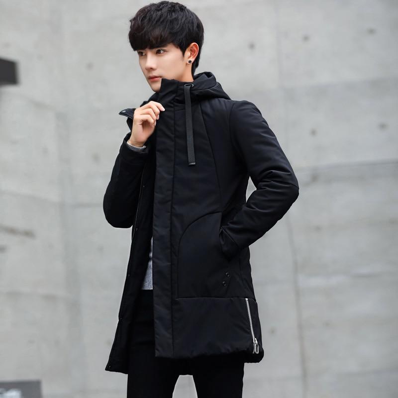 Мужская длинная куртка с капюшоном, повседневная приталенная хлопковая парка в Корейском стиле, молодежная одежда, зима 2019