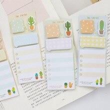Creativas Cute Cactus Memo Pads agenda kawaii Sticky autoadhesivo papel nota pegatinas escuela suministros de papelería de oficina