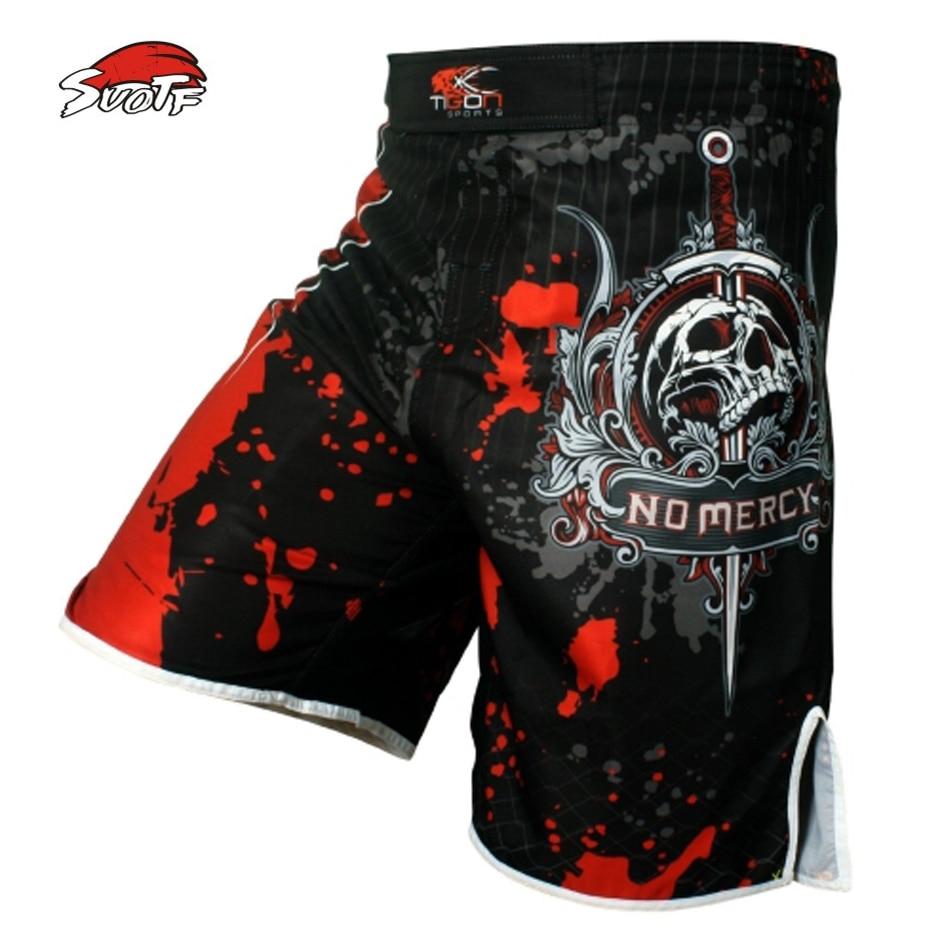 SUOTF Men's skeleton skull cool printing head wrestling pants muay thai boxing shorts  boxing shorts cheap mma shorts muay thai