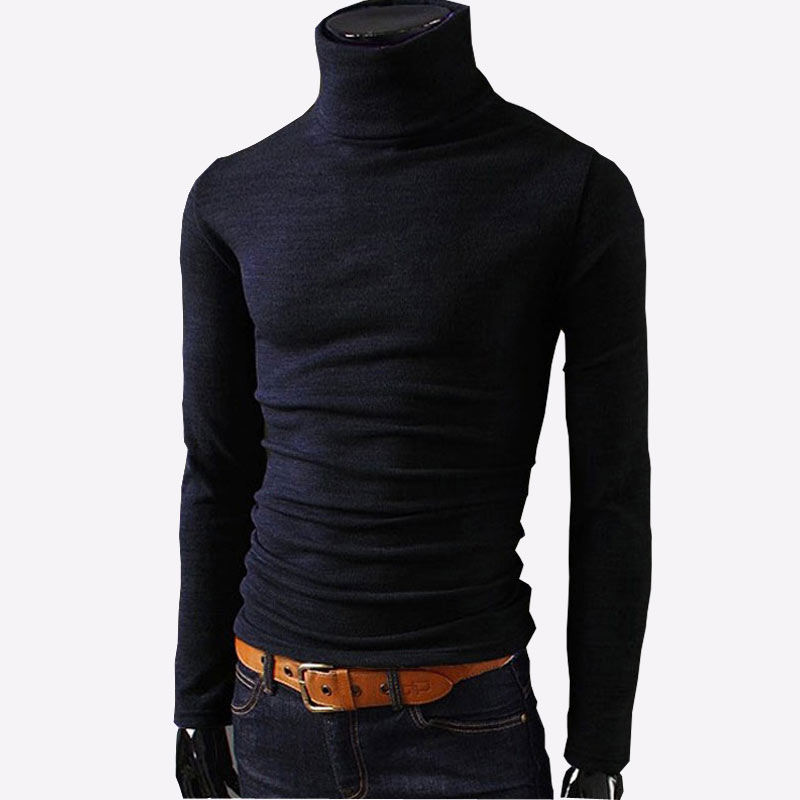 2020 New Autumn Mens Sweaters Casual Male Turtleneck Man's Black Solid Knitwear Slim Fit Brand Clothing Sweaters