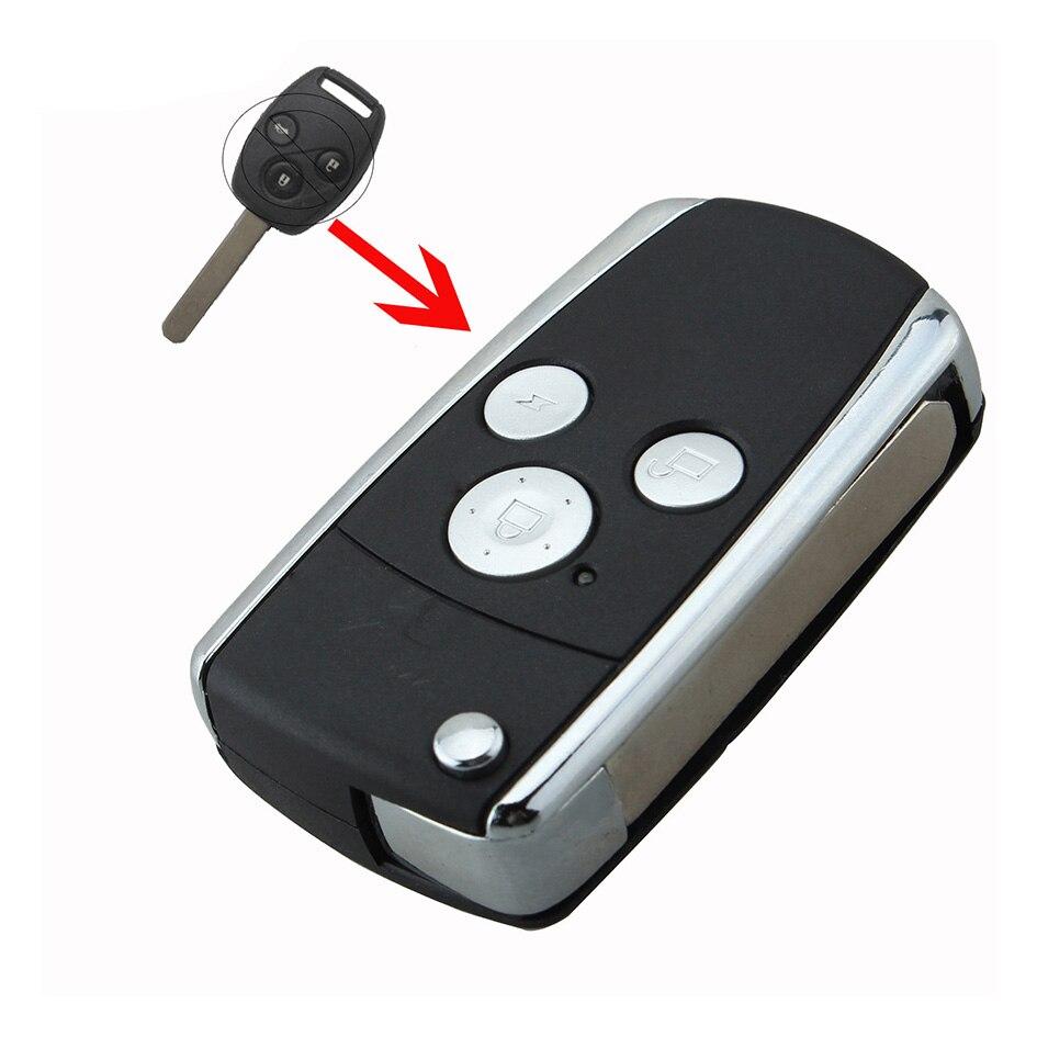 Novo modificado flip dobrável uncut remoto caso escudo chave do carro fob 3 botões para honda jazz/crv odyssey civic accord