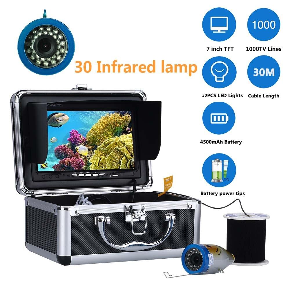 """7 MAOTEWANG """"Polegada 1000tvl Câmera De Vídeo Subaquática De Pesca Kit 30 pcs Lâmpada LED Infravermelho Luzes de Vídeo Inventor Dos Peixes"""