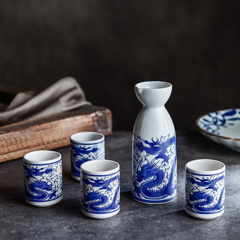 Casa de estilo japonés de licor vajilla copa de vino pote antiguo separador de vino amarillo botella de sake bandeja pequeña vino conjunto