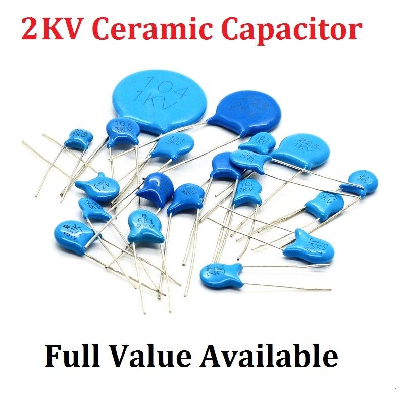 20PCS 2kv 560PF 561/680PF 681/102 1NF/103 10NF/222 2. 2NF/332 3. 3NF/470PF 471 capacitância 2000V high voltage capacitor de cerâmica