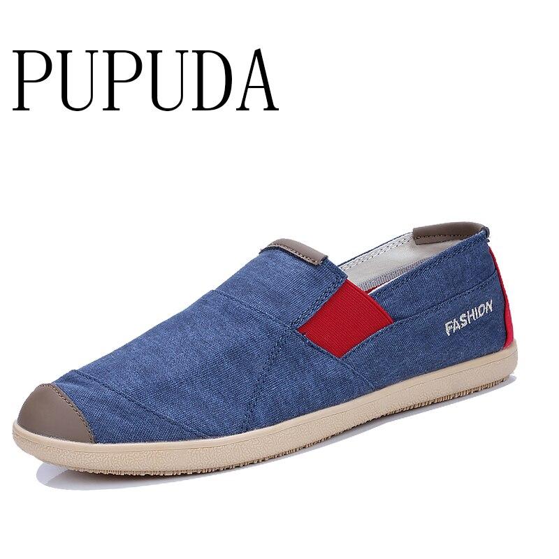 PUPUDA-baskets en toile pour hommes, chaussures dété chaussures décontractées, Espadrilles respirantes, pour conduite, nouvelle collection sans lacet