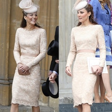Kate Middleton princesse broderie en dentelle, robe mode col en o manches longues robes gaine D4195