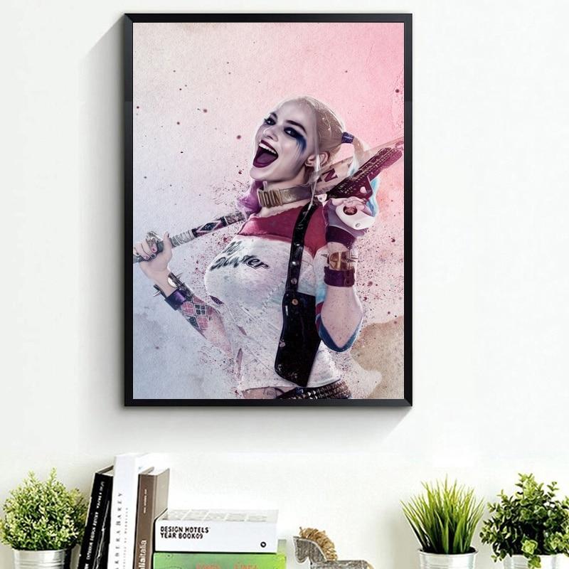 Margot robbie como harley quinn, esquadrão suicida papel de parede hd arte poster de seda 60x90cm