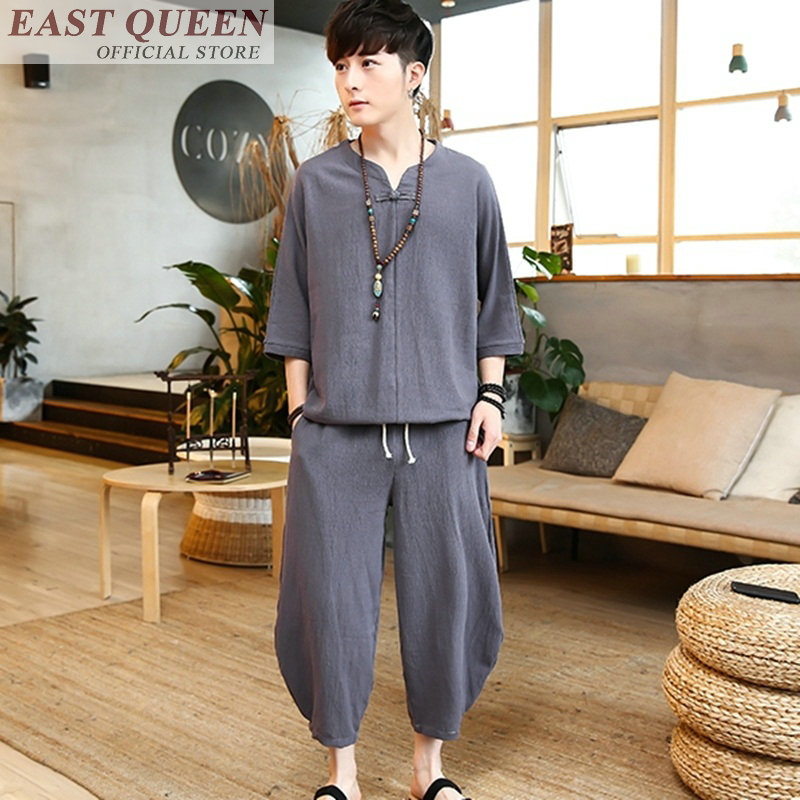 ملابس صينية تقليدية للرجال ، طقم من قطعتين ، توب وسروال ، متين ، غير رسمي ، فضفاض ، متجر ملابس صينية ، FF395 A