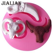 3d dia das bruxas gado marfim vaca puro boi bull cabeça molde de silicone fondant bolo decoração ferramentas cozimento molde t0830