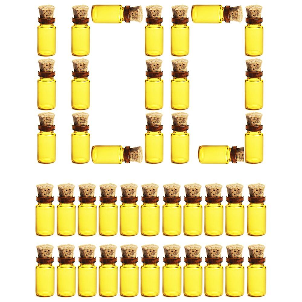 100 sztuk 11*22MM 1ML miniaturowe szklane butelki puste szczelne niezbędne butelki oleju próbki słoiki z korkową zatyczką korki-brązowy