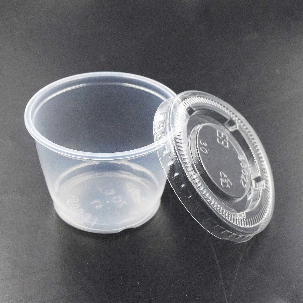 50Pcs Sauce Cups Disposable Plastic Clear Sauce Chutney Cups Boxes With Lid Food Takeaway