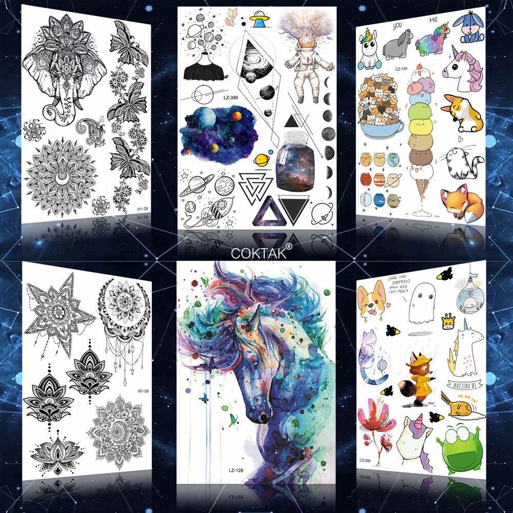 Galáxia azul unicórnio geométrico planeta astronauta falso tatuagens adesivo feminino corpo braço estrela tatto cavalo homem transferência de água tatuagem