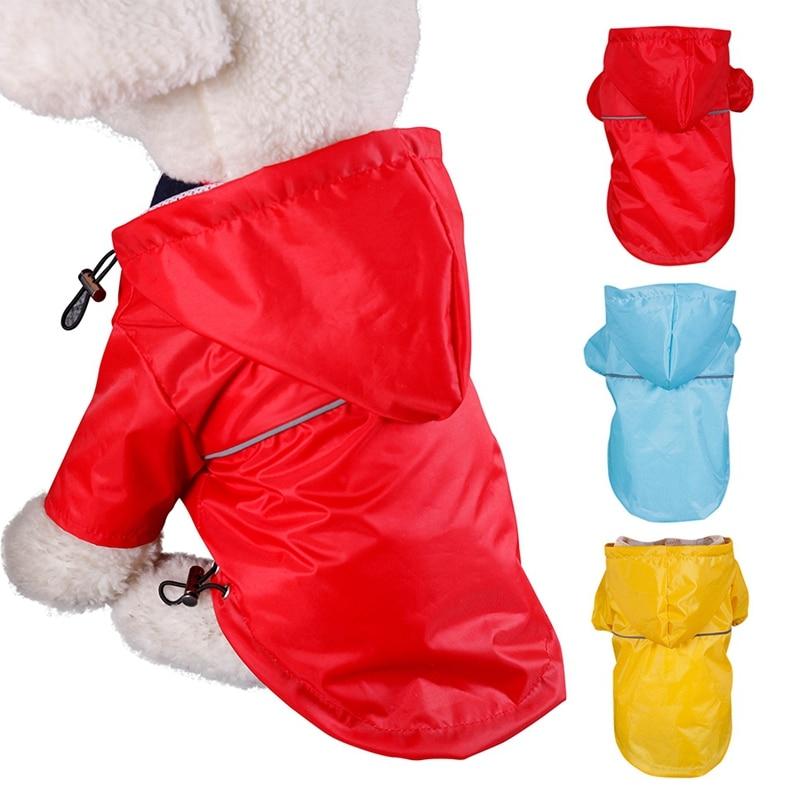 Chubasquero reflectante de PU para mascotas, chubasquero con capucha de verano, chaquetas impermeables para exteriores, pequeños y grandes ropa para perros, gatos, cachorros y gatitos