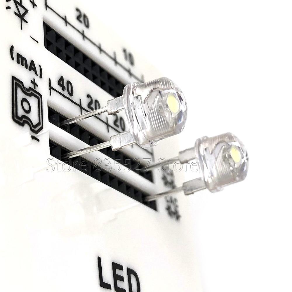 50 unids/lote 8MM F8 sombrero de paja blanco 53-58LM super brillante potencia 0,5 W LED de emisión de luz (leds) para DIY luces lámpara cuenta