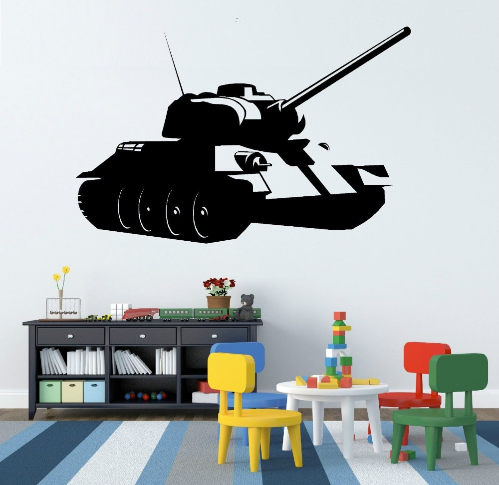Tanque de Guerra de armas militares ambiental adesivos de parede quarto menino Arte Mural decalques de parede de vinil DIY home decor F-180