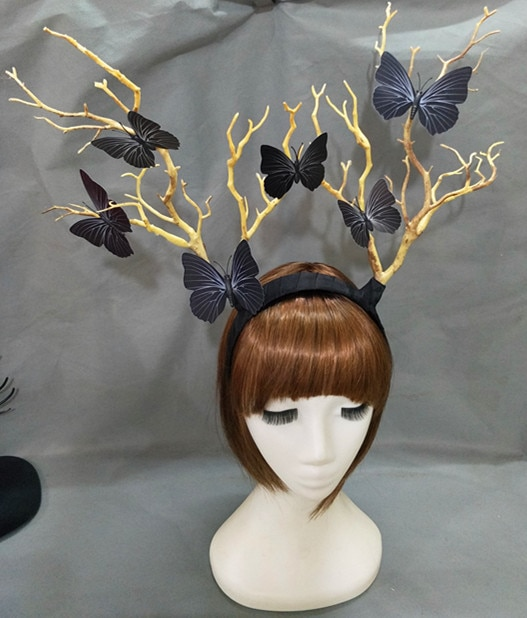 Steampunk Deadwood Horn Headband Sheep Ears Cosplay Headpieces Halloween Lolita Fancy Headdress