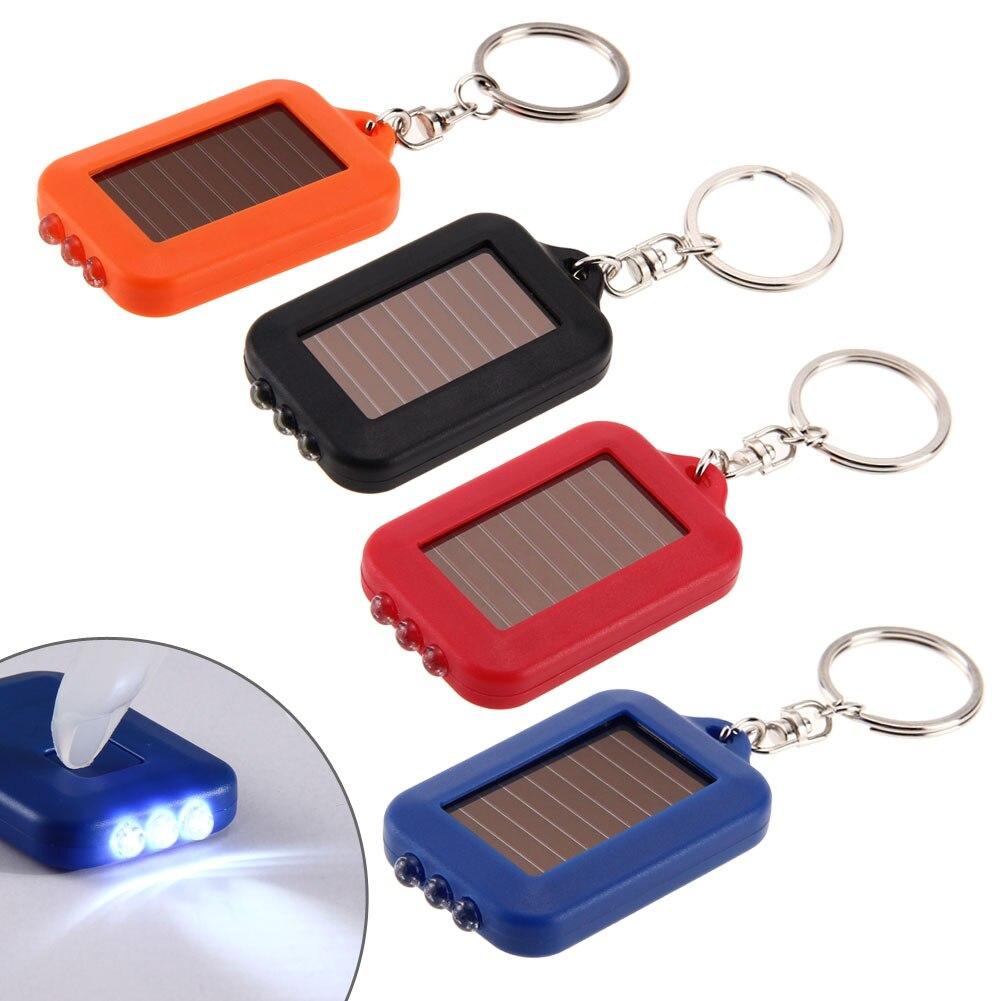 Painel solar tocha elétrica chaveiro lanterna lâmpada de acampamento recarregável energia holofotes portátil keyring luz 6x3.5cm