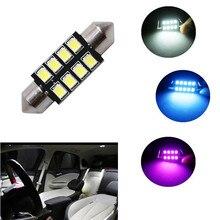 1 Uds. Bombilla de adorno LED automática de 31mm 36mm 39mm 42mm 2835 leds C5W luz de techo de automóvil Lámpara de lectura de mapa Interior de coche DC12V blanco azul rosa