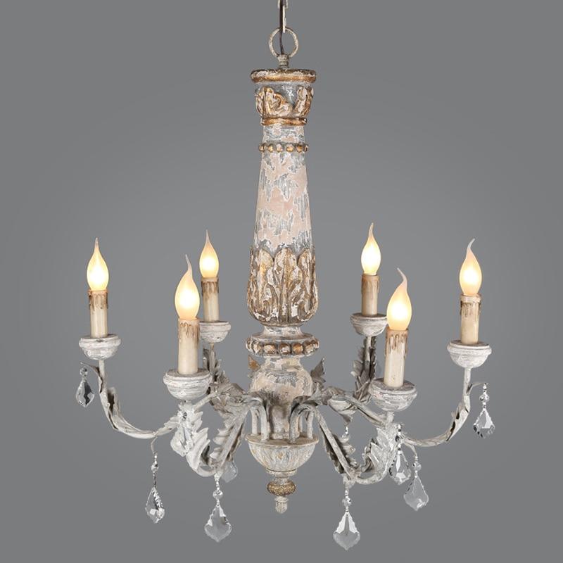 Wooden Iron Chandelier Lighting Vintage Crystal Lustre Pendant Living Room Kitchen Bedroom Retro Loft Light Fixtures