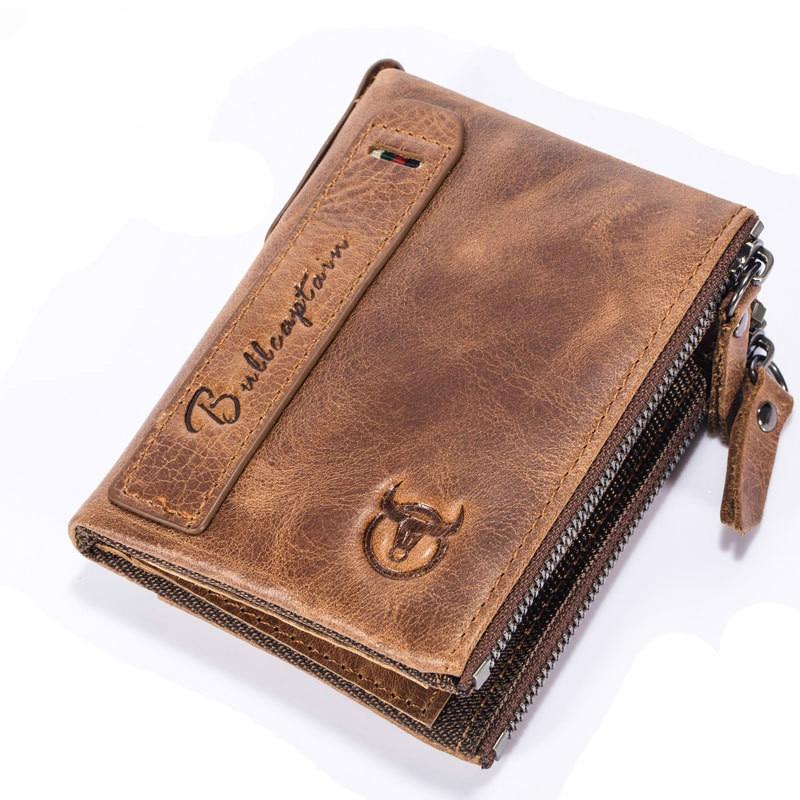 2018 New Genuine Leather Short Men Wallet Clutch Double Zipper Coin Purse Vintage Bifold Male Wallet