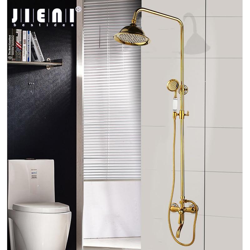 JIENI-صنبور دش نحاسي مثبت على الحائط ، فاخر ، مطلي بالذهب ، بمقبض سيراميك واحد ، خلاط يدوي