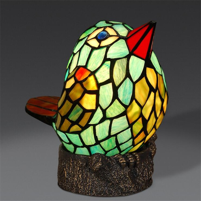 Tiffany Creative Lovely Green Glass Bird Table Lamp for Foyer Bed Room Bar Apartment Glass Reading Night Light H 24.5cm 1076  - buy with discount