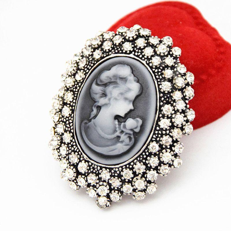 Wedding Party Queen Lady Vintage Victoriaanse Ontwerp Cameo Brons Broche Pin