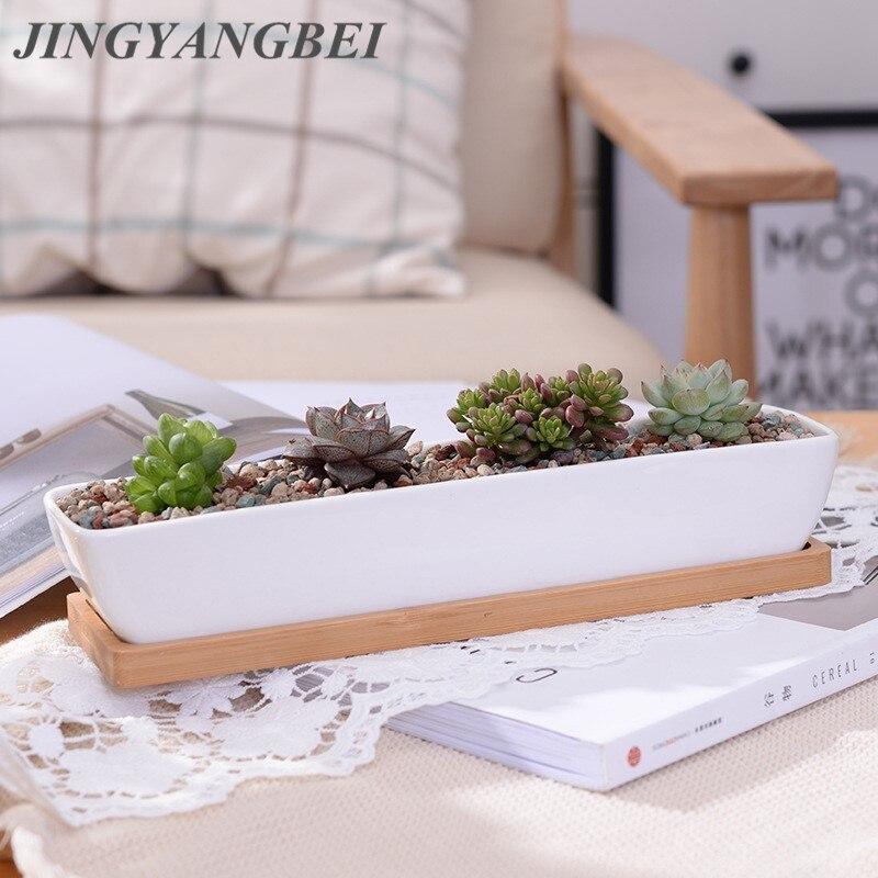 1 Набор минималистичный геометрический белый керамический сочный горшок для растений + бамбуковая полка для бонсай, цветочный горшок из фар...