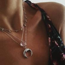 3 pièces/ensemble Vintage rose cristal lune collier pour les femmes mode argent couleur corne multicouches pendentif longs colliers Boho bijoux
