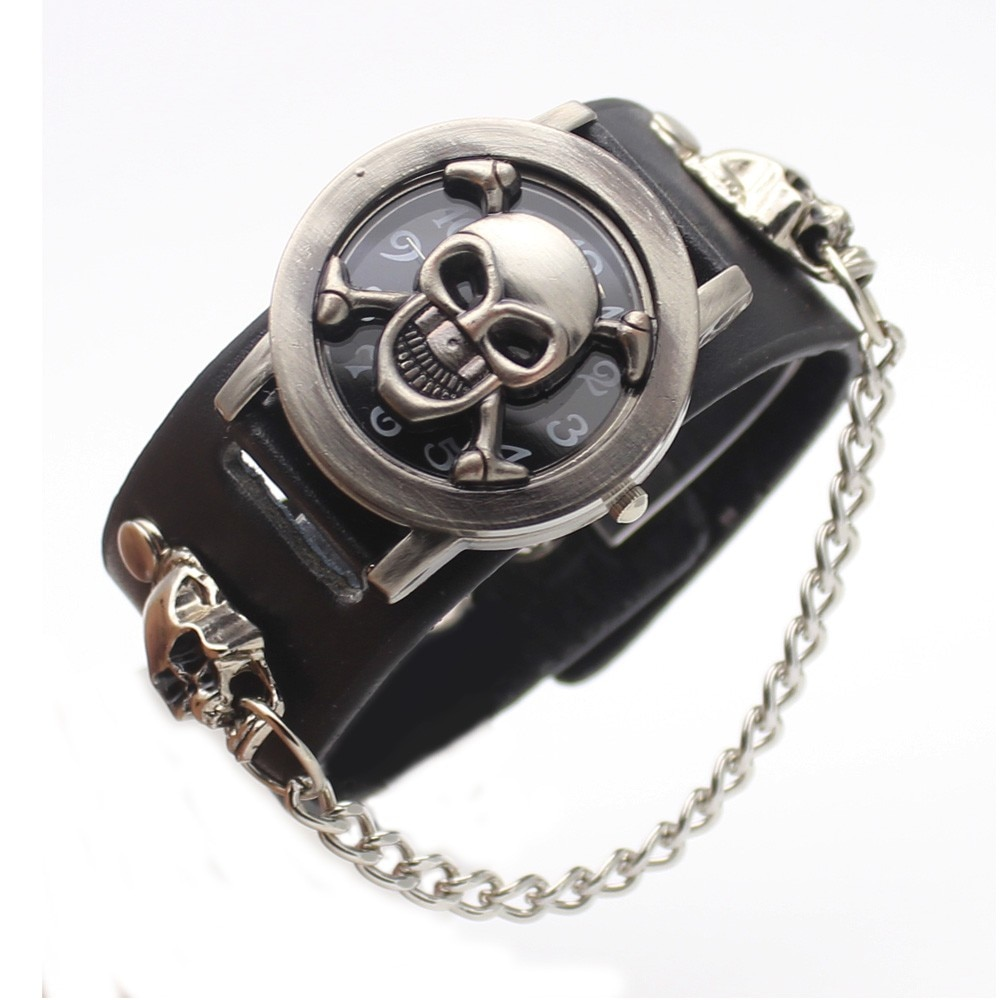 2018 skull watches flamboyant men's watchesQuartz Chronograph Military Wrist Watch Men Clock relogio  M Benz Free shipping