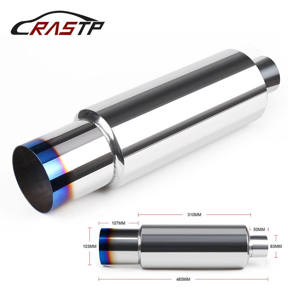 Rastp-universal 304 sistemas de escape de aço inoxidável silenciador tubo de cauda interface 63mm acessórios do carro estilo RS-CR1010