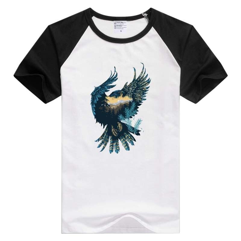Camiseta de manga corta con diseño de bosque de águila corazón del mundo atmósfera de montañas y ríos GA433