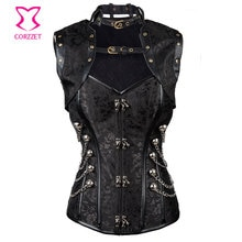 Noir brocart acier désossé taille formateur Corset Steampunk Corsets grande taille femmes Sexy Korsett gothique Burlesque vêtements S-2XL