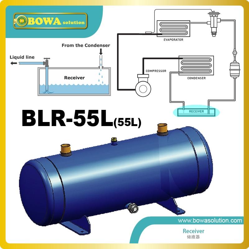 55L tanque de líquido refrigerante com ODS conexão instalado no sistema de bomba de calor ar condicionado VRV