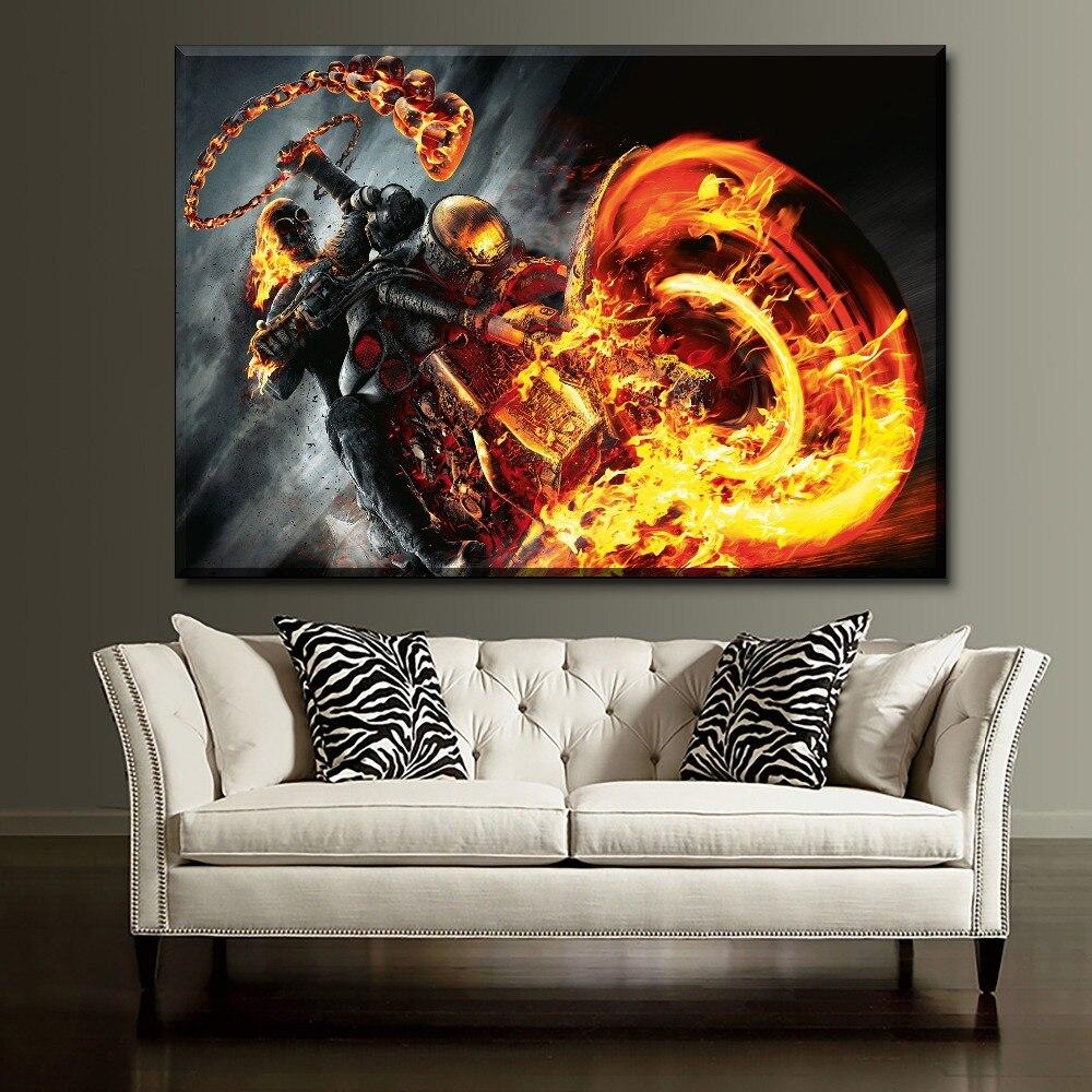 Ghost Rider Agents of SHIELD pintura moderna Pared de salón decorativo 1 pieza obra de arte única de alta calidad tipo de impresión en lienzo