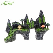 Piedra rocalla Artificial grande para acuarios, vista de la Montaña del acuario, ornamento para casa, puente, decoración para tanque de peces