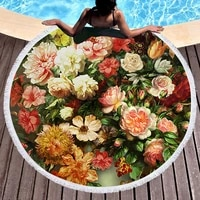 round large beachtowels for travels 1500mm polyester flowers bath towels for adults summer face towels cotton toalla playa e1