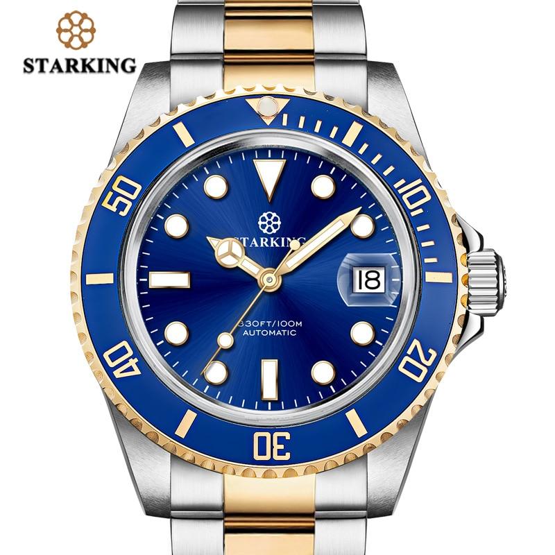 STARKING-ساعة رياضية للرجال ، مقاومة للماء حتى 100 متر ، كرونوغراف ميكانيكي من الفولاذ المقاوم للصدأ ، أزرق ، ذكر