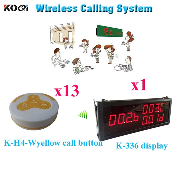 Wireless Transmission System Easy Operate Ycall 433.92MHZ Waiter Customer Service ( 1pcs display+ 13pcs call button)