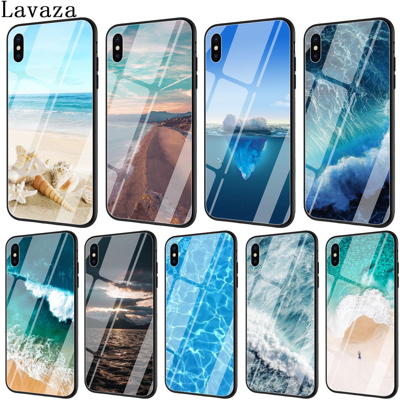 Lavaza Praia Do Mar spray de Vidro Temperado Caso Tampa Do Telefone para o iPhone Da Apple XR X XS Max 6 6 s 7 8 Plus 5 5S SE 10 Casos 7 8 Plus Plus