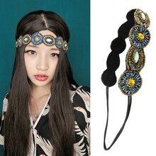 Bohemian exotic round eyes rhinestone headband ribbon manual meters beaded belt hair hoop headdress national hair band