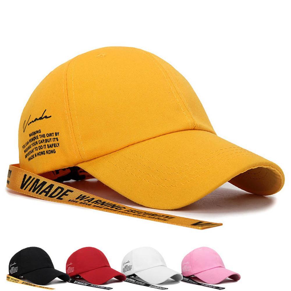 DOLEFT New Long Straps Baseball Cap Men Adjustable Streetwear Letter Snapback Caps Unisex Cotton Yellow Trucker Hat