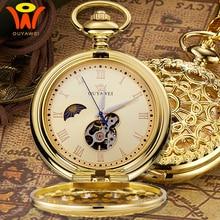 Montre gousset de poche mécanique Vintage lune or avec chaîne rétro squelette hommes Steampunk horloge mécanique collier pendentif montre